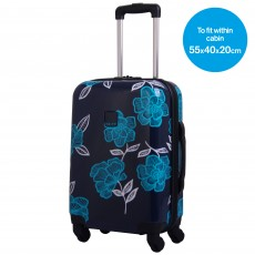 Tripp navy/turquoise 'Bloom Hard' 4W cabin suitcase