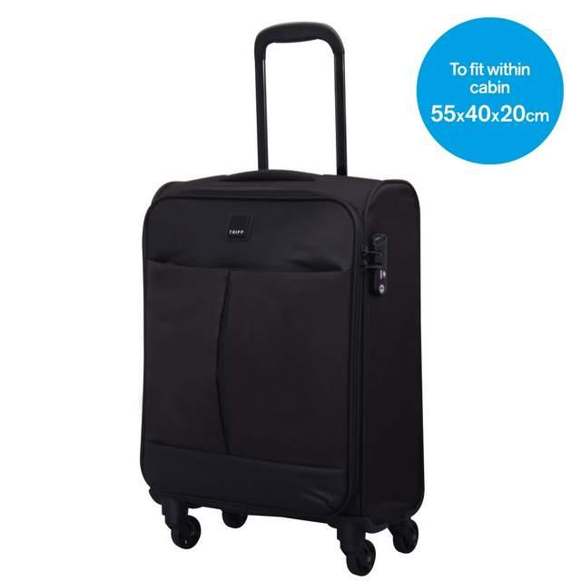 Tripp black/black 'Style Lite' 4 wheel cabin suitcase - Hard ...